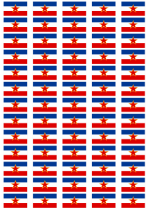 Yugoslavia Star Flag Stickers - 65 per sheet